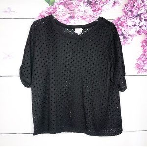 Postmark   Black Textured Hole Cropped Top